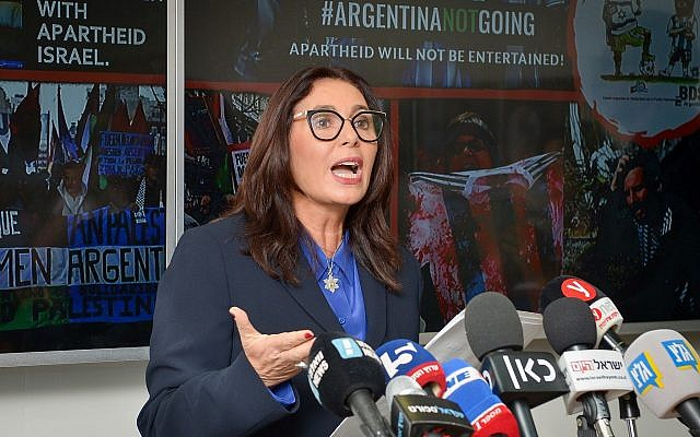 Culture and Sport Minister Miri Regev speaks at a press at the ministry offices in Tel Aviv, on June 6, 2018. (Yossi Zeliger/Flash90)
