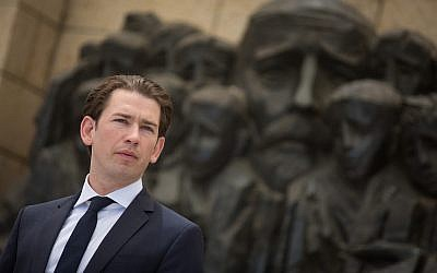 Chancellor of Austria Sebastian Kurz during a visit at the Yad Vashem Holocaust memorial in Jerusalem, June 10, 2018. (Hadas Parush/Flash90)
