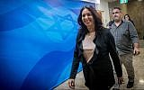 Culture and Sports Minister Miri Regev arrives to the weekly cabinet meeting at the Prime Minister's Office in Jerusalem on June 10, 2018. (Yonatan Sindel/Flash90)