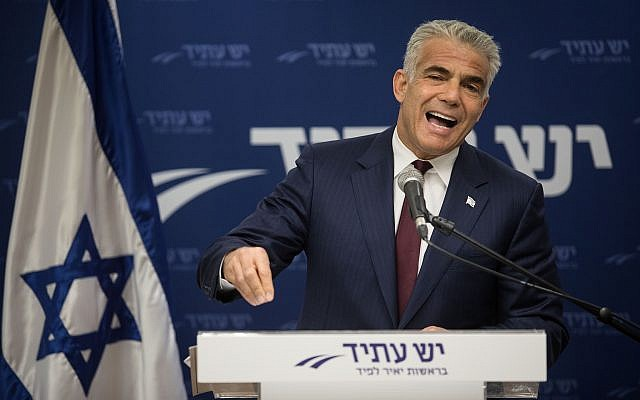 Yesh Atid leader Yair Lapid speaks during his party's faction meeting at the Knesset on June 11, 2018. (Hadas Parush/Flash90)