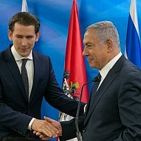 Prime Minister Benjamin Netanyahu, right, with Chancellor of Austria Sebastian Kurz at the Prime Minister's Office in Jerusalem, June 11, 2018. (Ohad Zwigenberg/Pool)