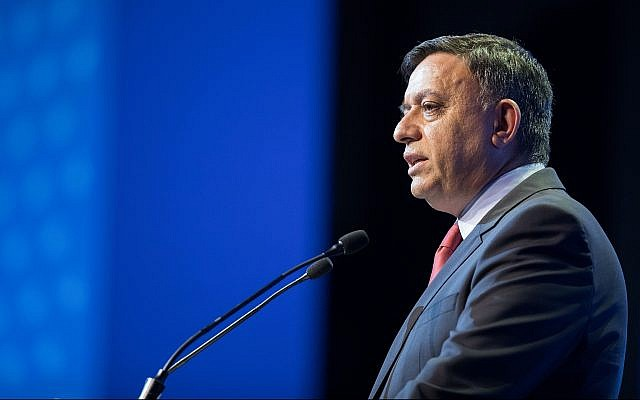 Zionist Union party leader Avi Gabbay speaks at the American Jewish Committee Global Forum in Jerusalem on June 11, 2018. (Yonatan Sindel/Flash90)