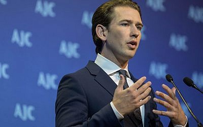 Chancellor of Austria Sebastian Kurz at the AJC Global Forum in Jerusalem, June 11, 2018. (Yonatan Sindel/Flash90)