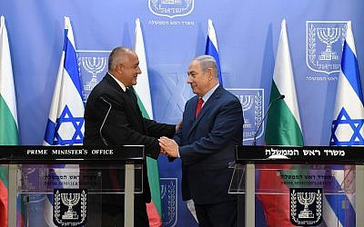 Prime Minister Benjamin Netanyahu, right, with Bulgarian Prime Minister Boyko Borisov in Jerusalem, June 13, 2018. (Haim Zach/GPO)