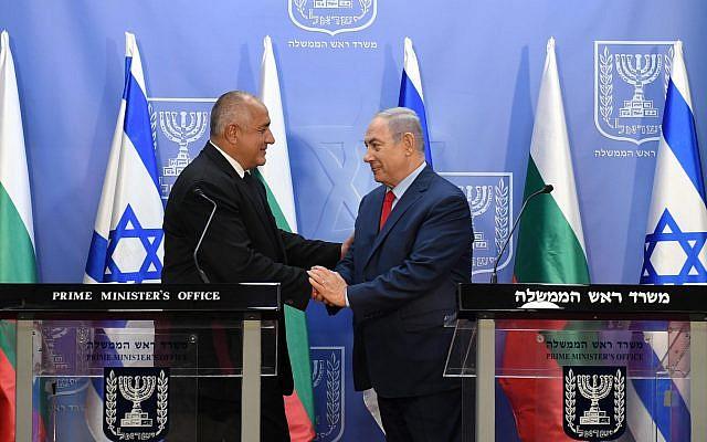 Prime Minister Benjamin Netanyahu, right, with Bulgarian Prime Minister Boyko Borisov in Jerusalem, June 13, 2018. (Haim Zach/GPO)