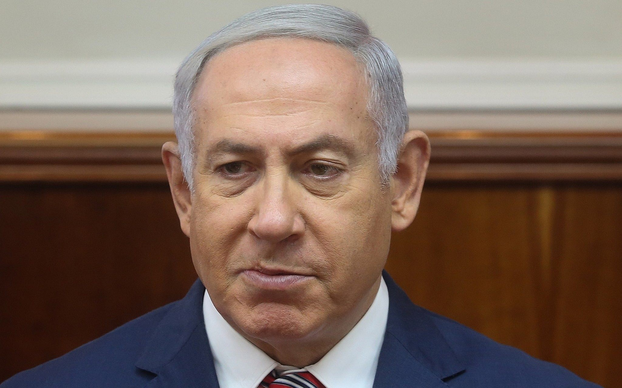 Prime Minister Benjamin Netanyahu at the weekly cabinet meeting at the Prime Minister's Office in Jerusalem