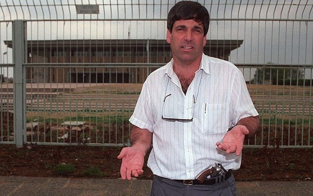 Then-MK Gonen Segev seen outside the Knesset on March 15, 1993. (Flash90)