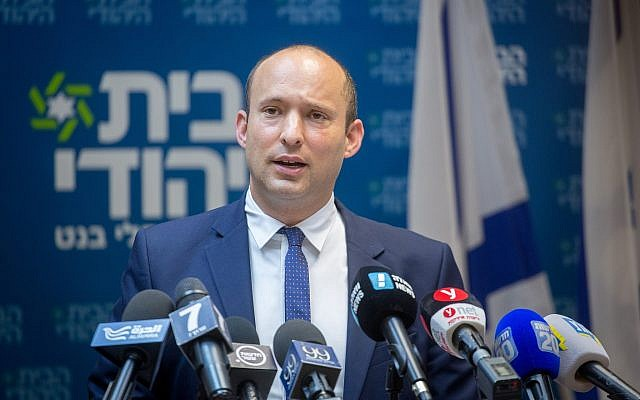 Education Minister Naftali Bennett leads a Jewish Home party faction meeting at the Knesset on June 18, 2018. (Miriam Alster/Flash90)