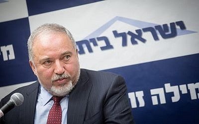 Defense Minister Avigdor Liberman leads a faction meeting of his Yisrael Beytenu party at the Knesset on June 18, 2018. (Miriam Alster/Flash90)