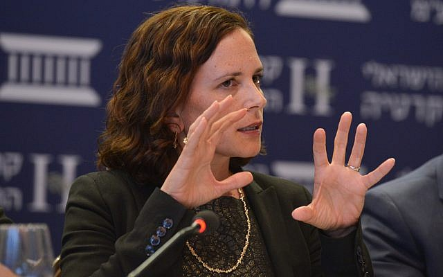 Kulanu MK Rachel Azaria at the Eli Horowitz Conference for Economy and Society, held by the Israel Institute of Democracy, in Jerusalem, on June 19, 2018. (Yossi Zeliger/Flash90)