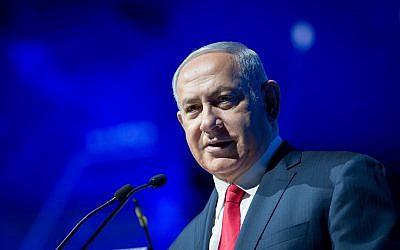 Prime Minister Benjamin Netanyahu speaks at the Cyber Week conference at Tel Aviv University on June 20, 2018. (Miriam Alster/Flash90)