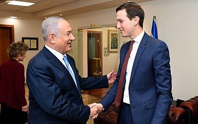 US President Donald Trump's senior adviser and son-in-law Jared Kushner, right, meets with Prime Minister Benjamin Netanyahu at the Prime Minister's Office in Jerusalem, on June 22, 2018. (Matty Stern/US Embassy Jerusalem/Flash90)