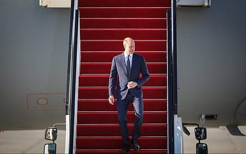 Prince William arrives at Ben Gurion International Airport on June 25, 2018. (Hadas Parush/Flash90)