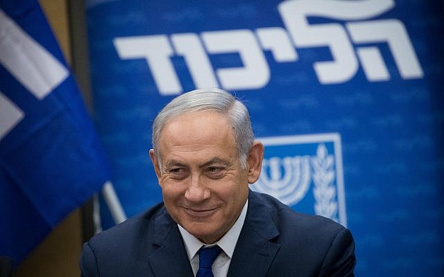 Prime Minister Benjamin Netanyahu leads a Likud party faction meeting at the Knesset on June 25, 2018. (Yonatan Sindel/Flash90)