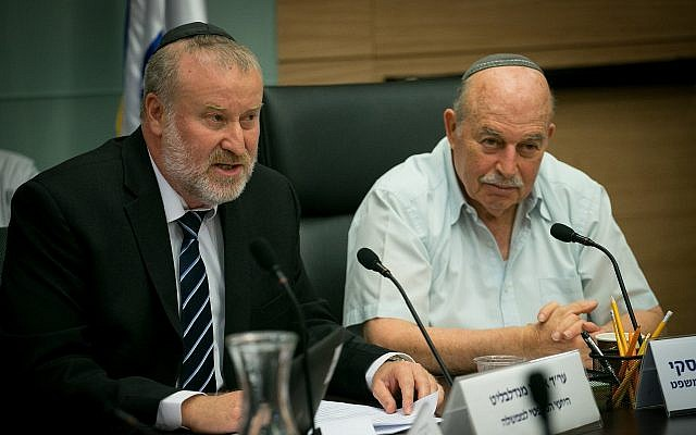 Nissan Slomiansky, Head of the Constitution, Law, and Justice, Committee (r) and Attorney-General Avichai Mandelblit attend a committee meeting in the Knesset on June 25, 2018. (Yonatan Sindel/Flash90)