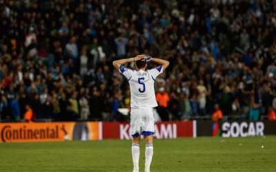 Rami Gershon of the Israel national soccer team reacts after a Euro 2016 qualifying match against Belgium at Teddy Stadium in Jerusalem, March 31, 2015. (Yonatan Sindel/Flash90)