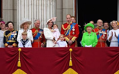 The royal family, with Prince William in the center alongside his wife, Catherine, and their two children, in London during the Trooping the Colour, this year marking the queen's 90th birthday, June 11, 2016. (Ben A. Pruchnie/Getty Images)