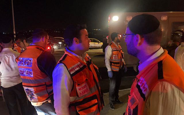 Paramedics from United Hatzalah at the scene of a suspected car-ramming attack on June 23, 2018 outside the Palestinian village of Husan, near the West Bank settlement of Beitar Illit. Courtesy