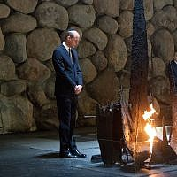 Prince William takes part in a wreath laying ceremony at the Hall of Remembrance at the Yad Vashem Holocaust memorial museum in Jerusalem on June 26, 2018. (Ben Kelmer)