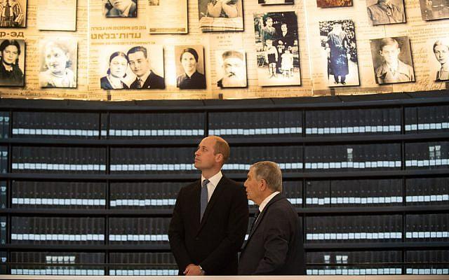 Prince William tours the Yad Vashem Holocaust memorial museum in Jerusalem on June 26, 2018. (Ben Kelmer)