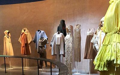 The inverted runway of 'Fashion Statement; Decoding Israeli Dress' exhibit at the Israel Museum, which opened June 13, 2018 (Jessica Steinberg/Times of Israel)