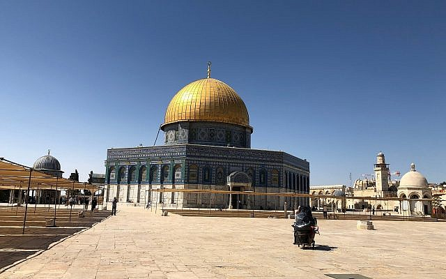 The day after the end of the Ramadan celebrations, the Temple Mount / Aqsa Compound is empty save for a few tourists, June 18, 2018. (Amanda Borschel-Dan/Times of Israel)