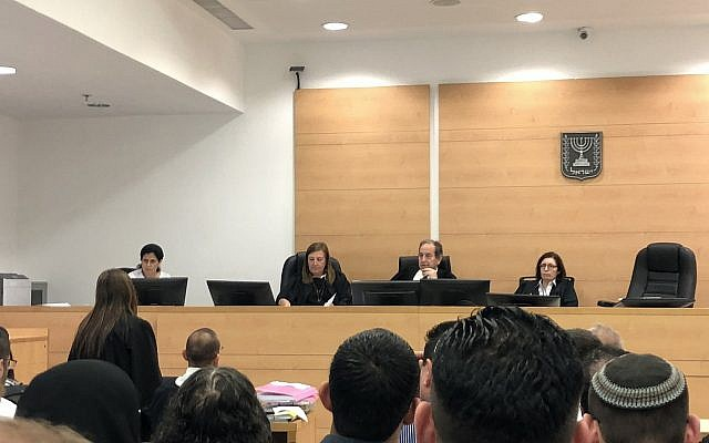 Judges at the Central District Court in Petah Tikva during a hearing on June 19, 2018. (Jacob Magid/Times of Israel)
