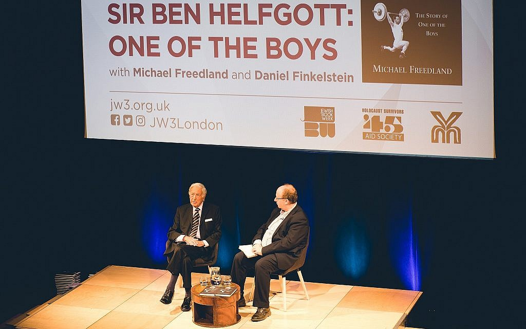 Author Michael Freedland, left, at the release of Ben Helfgott's biography 'The Story of One of the Boys' at the JW3 Jewish Community Center in London, June 13, 2018. (Paul Toeman Photographers)