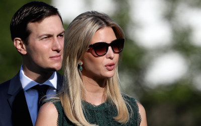 Ivanka Trump and Jared Kushner arrive for a ceremony on the South Lawn of the White House on September 11, 2017 in Washington, DC. (Win McNamee/Getty Images via JTA)