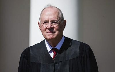 Supreme Court Justice Anthony Kennedy is seen during a ceremony at the White House, April 10, 2017. (Eric Thayer/Getty Images via JTA)