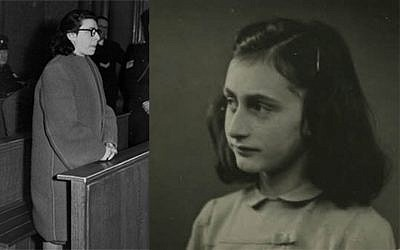 Anna 'Ans' van Dijk on trial in Amsterdam for collaborating with the Nazis (left) and diarist Anne Frank (public domain)