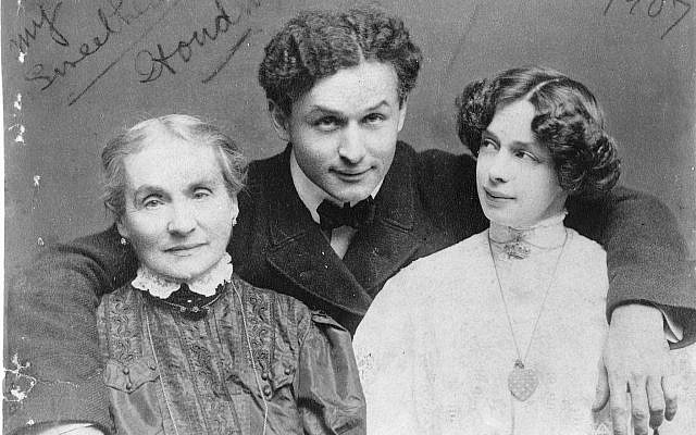 Scrawled on this photo of magician Harry Houdini with his mother Cecilia and wife Bess are the words, 'My two sweethearts.' (Library of Congress)