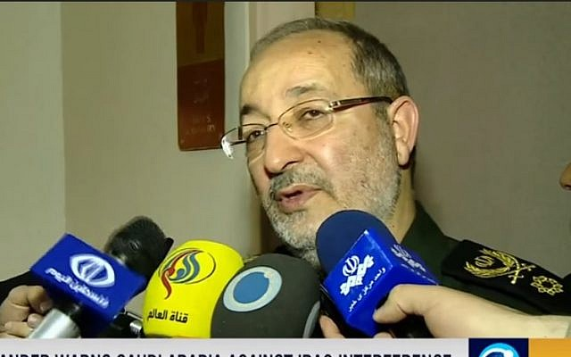 Iran's armed forces spokesman Brigadier General Masoud Jazayeri, gives an in interview with the official Press TV on June 27, 2016. (screen capture: YouTube)