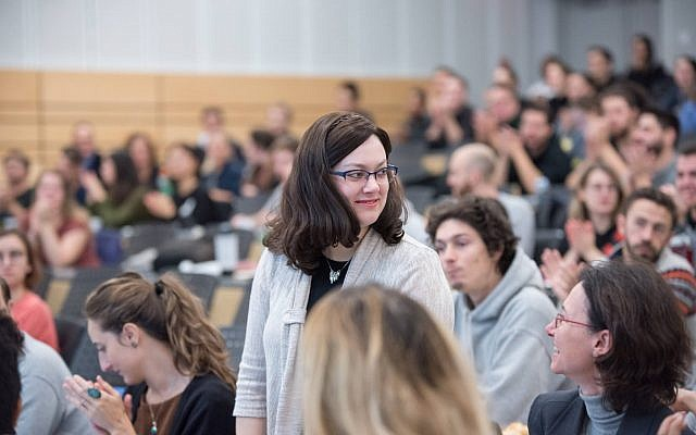 Mindy Pollak at a university where then-Montreal mayoral candidate Valerie Plante was speaking, autumn of 2017. (Courtesy)