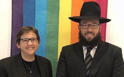 Rabbi Mike Moskowitz just took a job at Congregation Beit Simchat Torah, a New York City synagogue serving the LGBT community. Next to him is the synagogue's senior rabbi, Sharon Kleinbaum. (Courtesy of CBST/via JTA)