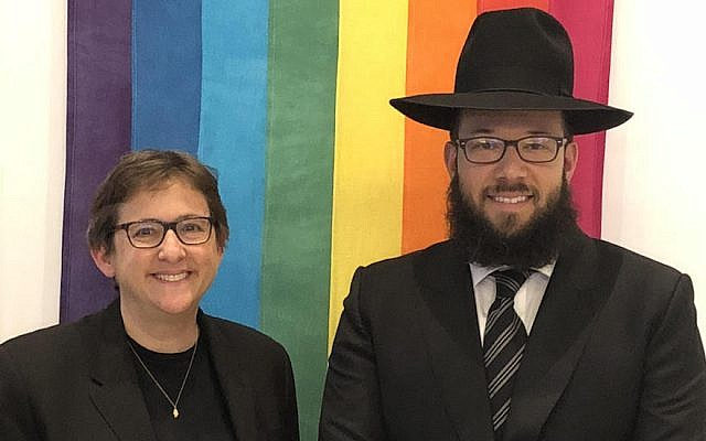Rabbi Mike Moskowitz just took a job at Congregation Beit Simchat Torah, a New York City synagogue serving the LGBT community. Next to him is the synagogue's senior rabbi, Sharon Kleinbaum. (Courtesy of CBST/via JTA)