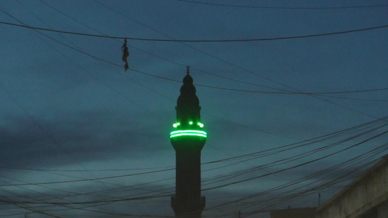 A mosque at dusk, Qamishli, Syria. (Ziv Genesove/ Times of Israel)