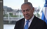 Screen capture from video of an interview given by Prime Minister Benjamin Netanyahu to the BBC in London, and broadcast June 7, 2018. (BBC)