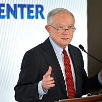 Jeff Sessions speaking at the annual Orthodox Union Washington conference, June 13, 2018. (OU via JTA)