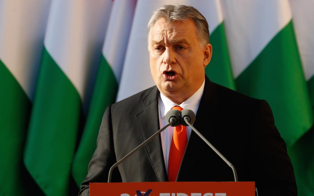 Hungarian Prime Minister Viktor Orban speaks at a campaign really in Szekesfehervar, Hungary, on April 6, 2018. (Laszlo Balogh/Getty Images/via JTA)