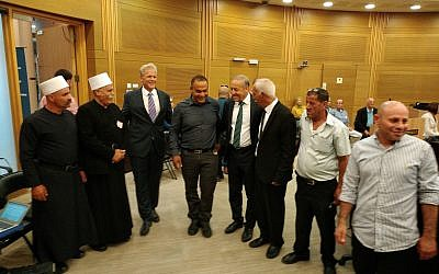 Deputy Minister Michael Oren, third from left, with Arab dignitaries at an event marking Ramadan at the Knesset, June 12, 2018 (Raphael Ahren/TOI)