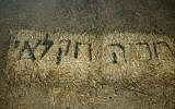 'Stop the agricultural terror,' found graffitied in Hebrew in the Palestinian village of Burin, in the northern West Bank, on June 8, 2018. (Yesh Din, courtesy)