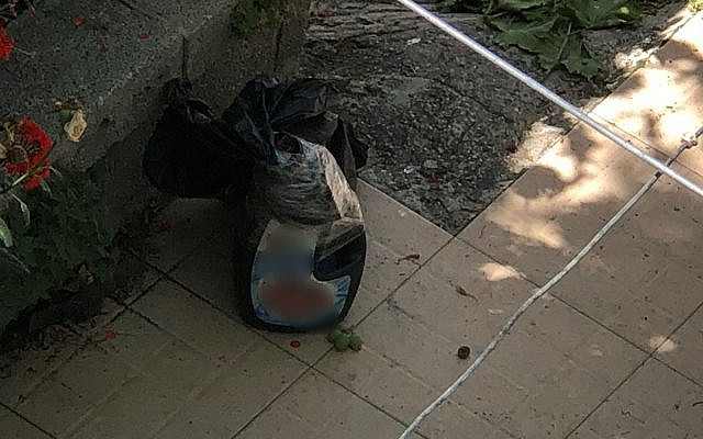 A bomb found in the yard of a Palestinian home near a security checkpoint in the West Bank city of Hebron on June 22, 2018. (Israel Police)