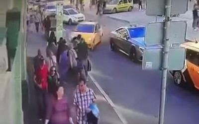 A taxi is seen crashing into a group of pedestrians in Moscow on June 16, 2018. (Screen capture: YouTube)