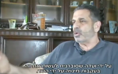 Former Israeli minister Gonen Segev interviewed in 2016 in Nigeria (Screen capture: Hadashot news)