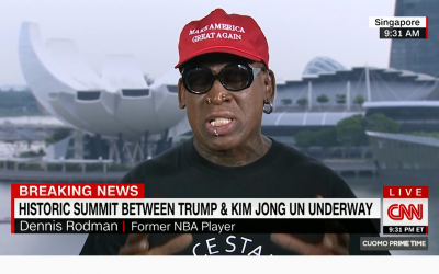 Dennis Rodman breaks down in tears live on television on June 12, 2018  as he recounted the hostility he faced for meeting dictator Kim Jong Un. (Screenshot/CNN)