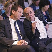 Outgoing Jewish Agency Chairman Natan Sharansky and Chairman-elect MK Isaac Herzog following Herzog's election at the Jewish Agency Board of Governors' meetings in Jerusalem, June 24, 2018. (Nir Kafri for The Jewish Agency for Israel/courtesy)