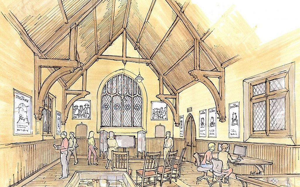 Rendering of the East Boston Immigration Center, currently under construction in the burial chapel of Ohabei Shalom Cemetery in East Boston, Massachusetts (Jewish Cemetery Association of Massachusetts)