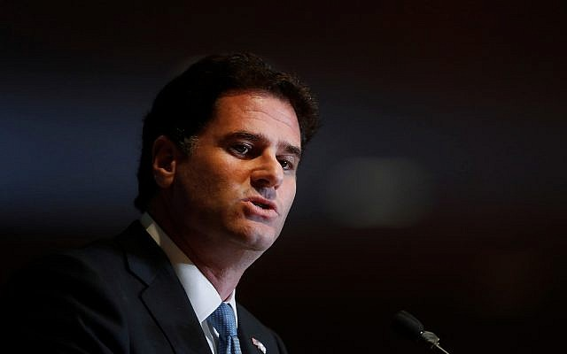 Ron Dermer, Israel's ambassador to the United States, speaks at an event in Detroit, on June 4, 2018. (AP Photo/Paul Sancya/File)