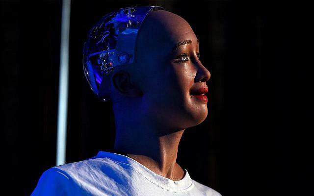 Hanson Robotics' robot Sophia, a lifelike robot powered by artificial intelligence, is displayed in Kathmandu, Nepal, Wednesday, March 21, 2018. (AP Photo/Niranjan Shrestha)